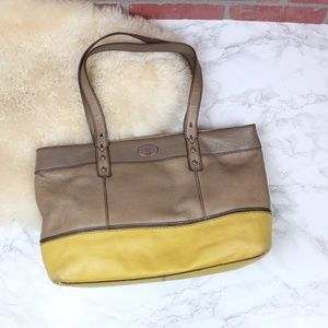 Fossil Taupe/Yellow Leather Tote Bag